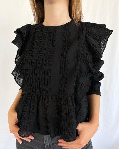 Blusa preta folhos