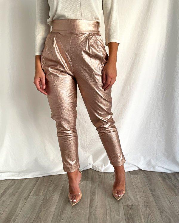 Calças metalizadas